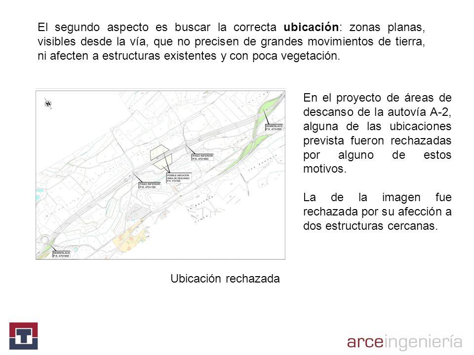 El segundo aspecto es buscar la correcta ubicación: zonas planas, visibles desde la vía, que no precisen de grandes movimientos de tierra, ni afecten