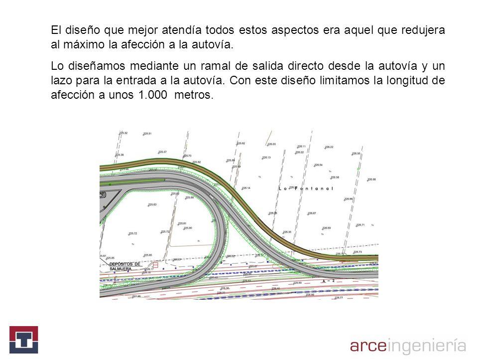 El diseño que mejor atendía todos estos aspectos era aquel que redujera al máximo la afección a la autovía. Lo diseñamos mediante un ramal de salida d