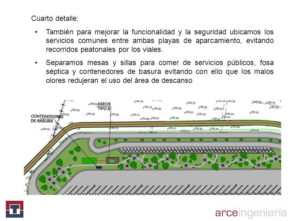 Cuarto detalle: También para mejorar la funcionalidad y la seguridad ubicamos los servicios comunes entre ambas playas de aparcamiento, evitando recor