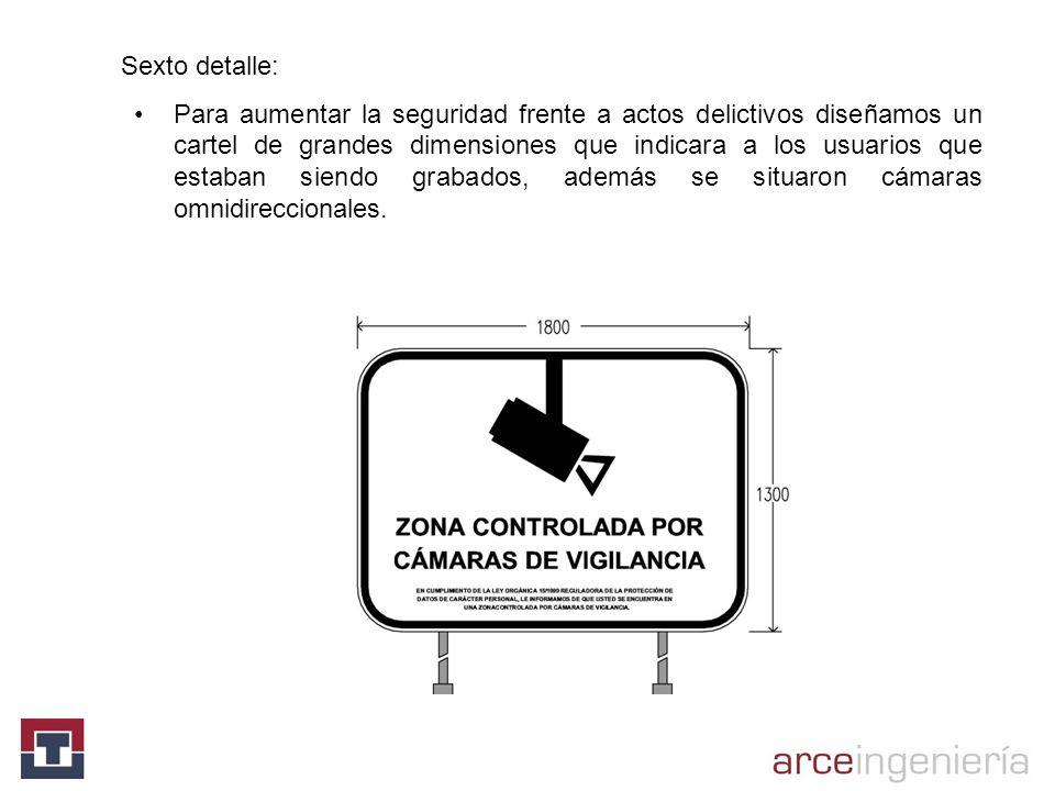 Sexto detalle: Para aumentar la seguridad frente a actos delictivos diseñamos un cartel de grandes dimensiones que indicara a los usuarios que estaban