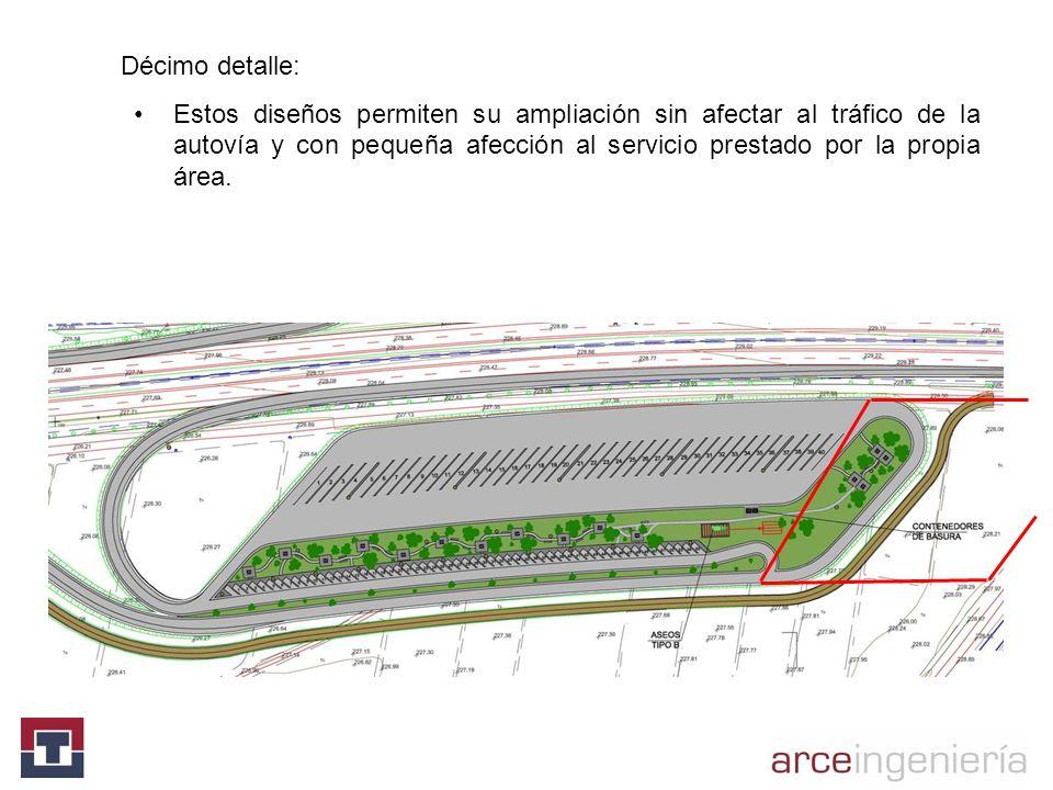 Décimo detalle: Estos diseños permiten su ampliación sin afectar al tráfico de la autovía y con pequeña afección al servicio prestado por la propia ár