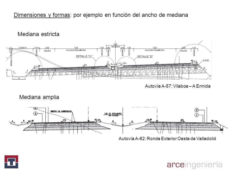 Dimensiones y formas: por ejemplo en función del ancho de mediana Mediana estricta Mediana amplia Autovía A-57: Vilaboa – A Ermida Autovía A-62: Ronda