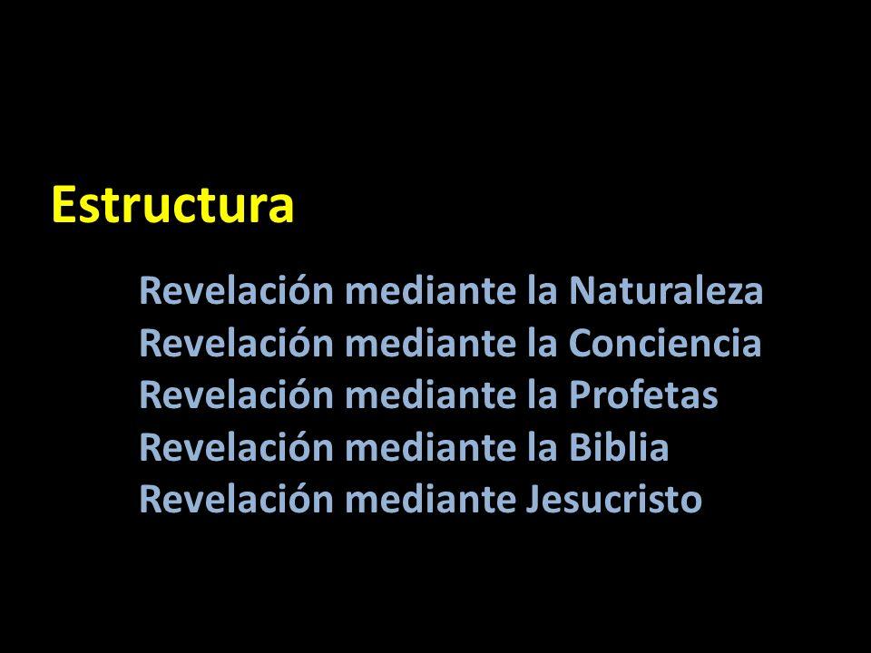 Revelación mediante la Naturaleza Revelación mediante la Conciencia Revelación mediante la Profetas Revelación mediante la Biblia Revelación mediante