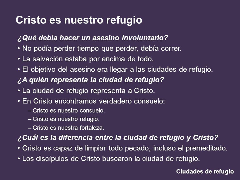 Ciudades de refugio Cristo es nuestro refugio ¿Qué debía hacer un asesino involuntario? No podía perder tiempo que perder, debía correr. La salvación