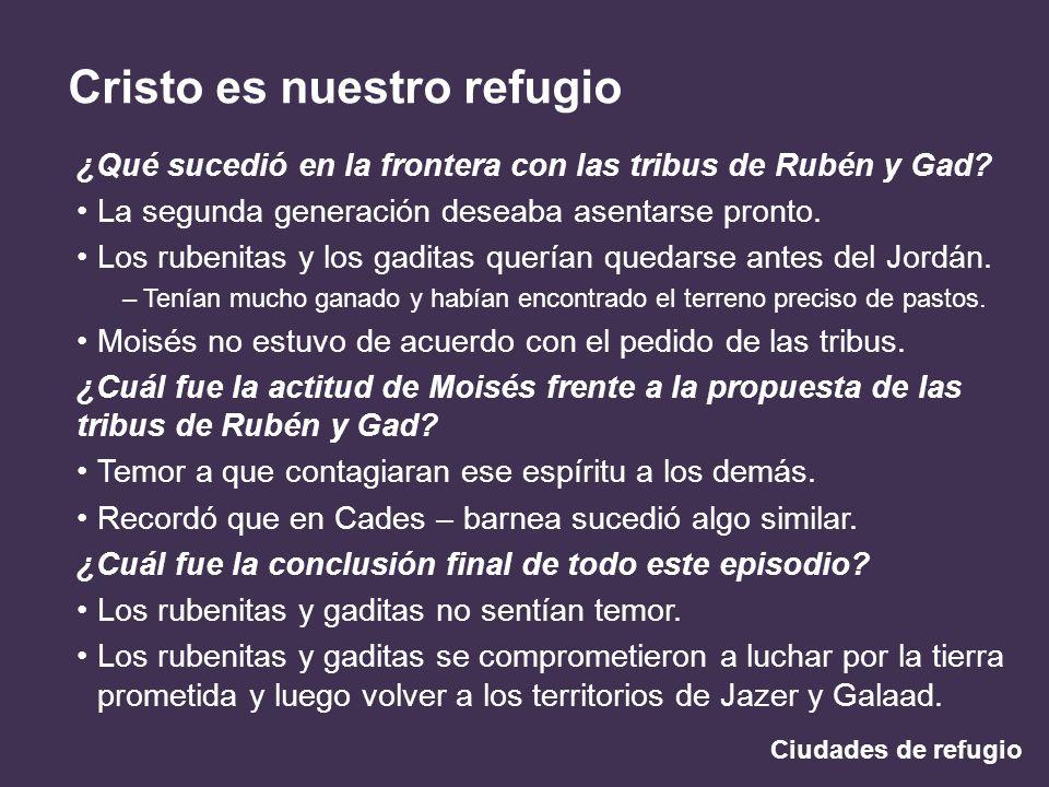 Ciudades de refugio Cristo es nuestro refugio ¿Qué sucedió en la frontera con las tribus de Rubén y Gad? La segunda generación deseaba asentarse pront