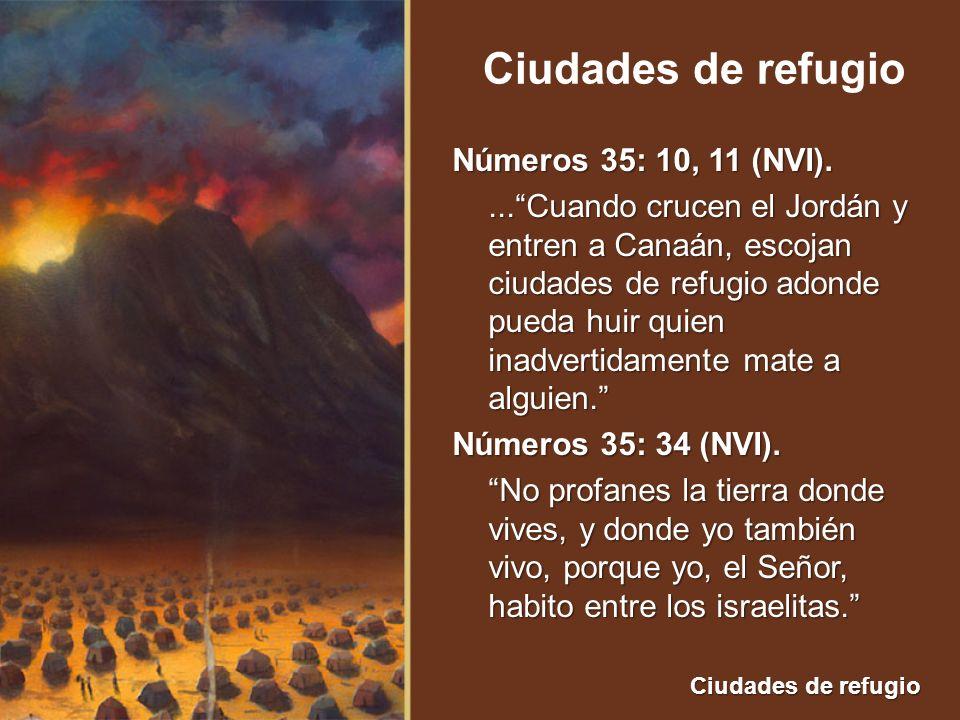 Ciudades de refugio Números 35: 10, 11 (NVI)....Cuando crucen el Jordán y entren a Canaán, escojan ciudades de refugio adonde pueda huir quien inadver