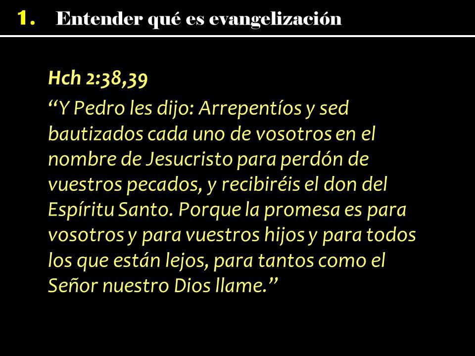 1. Hch 2:38,39 Y Pedro les dijo: Arrepentíos y sed bautizados cada uno de vosotros en el nombre de Jesucristo para perdón de vuestros pecados, y recib