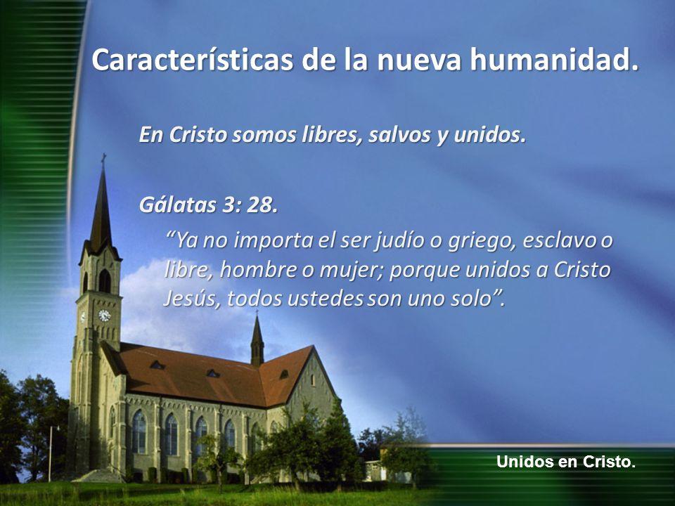 Unidos en Cristo. Características de la nueva humanidad. En Cristo somos libres, salvos y unidos. Gálatas 3: 28. Ya no importa el ser judío o griego,