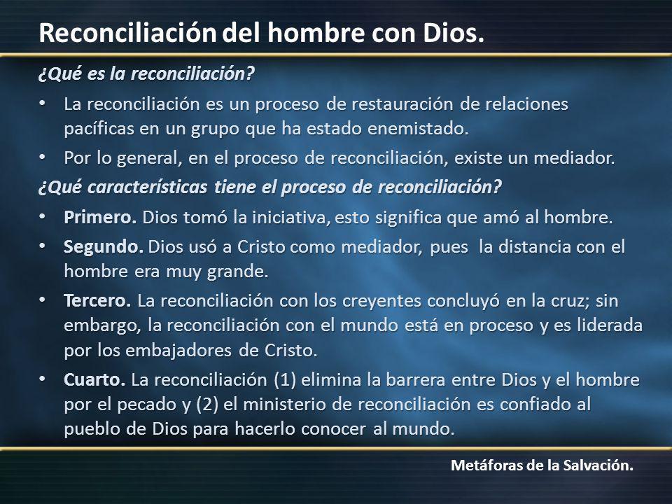 Metáforas de la Salvación. Reconciliación del hombre con Dios. ¿Qué es la reconciliación? La reconciliación es un proceso de restauración de relacione