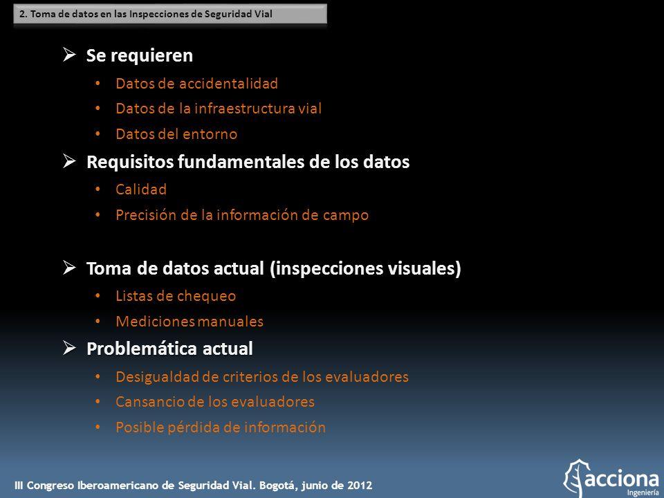 Se requieren Se requieren Datos de accidentalidad Datos de la infraestructura vial Datos del entorno Requisitos fundamentales de los datos Requisitos