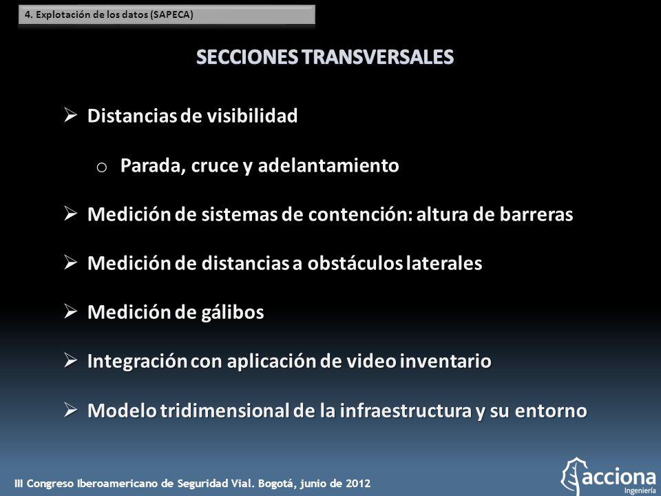 Distancias de visibilidad Distancias de visibilidad o Parada, cruce y adelantamiento Medición de sistemas de contención: altura de barreras Medición d