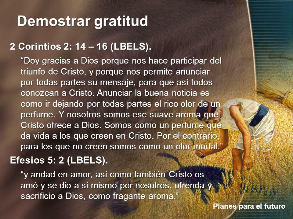 Demostrar gratitud Planes para el futuro 2 Corintios 2: 14 – 16 (LBELS). Doy gracias a Dios porque nos hace participar del triunfo de Cristo, y porque