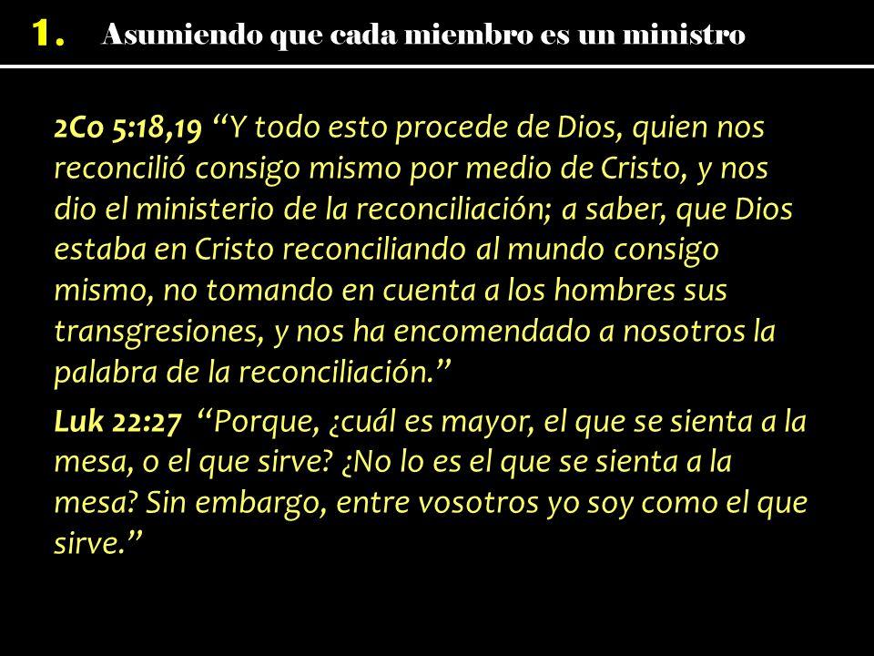 1. 2Co 5:18,19 Y todo esto procede de Dios, quien nos reconcilió consigo mismo por medio de Cristo, y nos dio el ministerio de la reconciliación; a sa