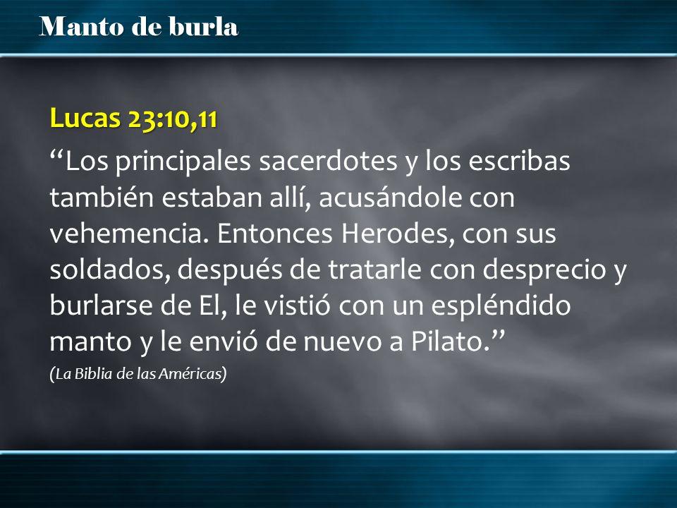 Manto de burla Lucas 23:10,11 Los principales sacerdotes y los escribas también estaban allí, acusándole con vehemencia. Entonces Herodes, con sus sol