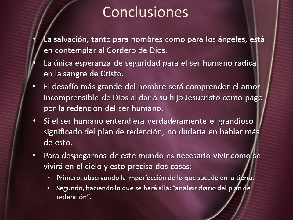 Conclusiones La salvación, tanto para hombres como para los ángeles, está en contemplar al Cordero de Dios. La salvación, tanto para hombres como para
