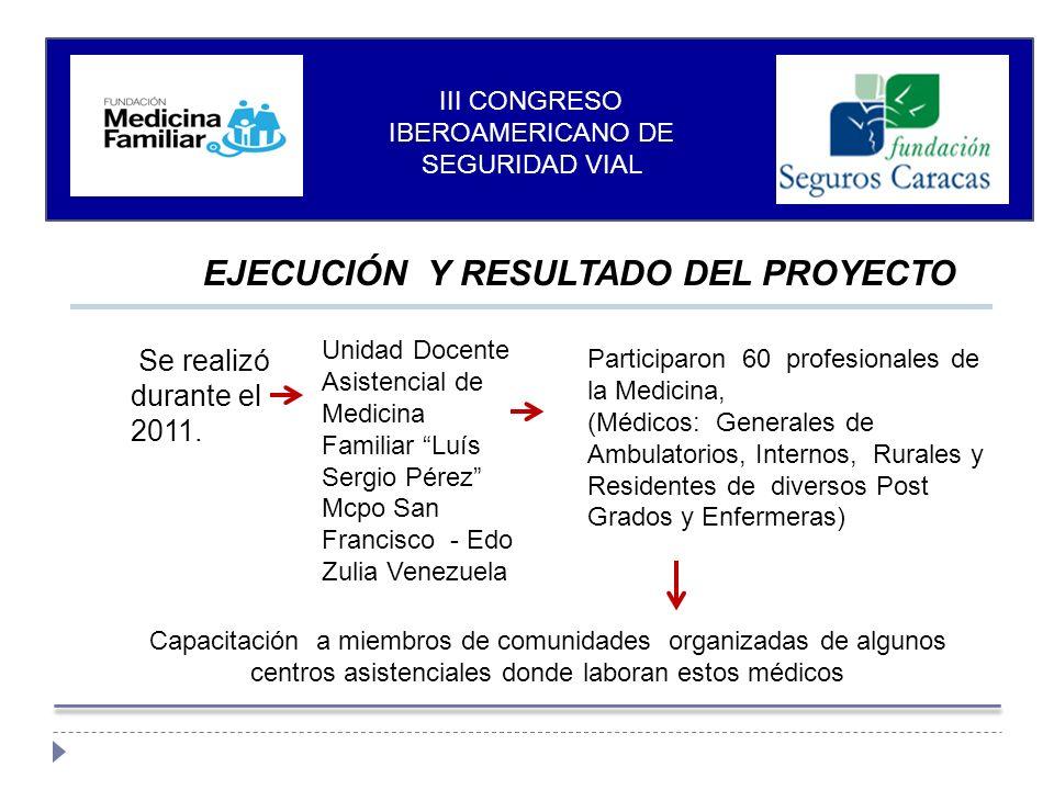 EJECUCIÓN Y RESULTADO DEL PROYECTO Se realizó durante el 2011.
