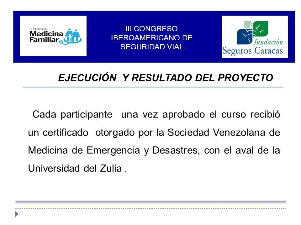 EJECUCIÓN Y RESULTADO DEL PROYECTO Cada participante una vez aprobado el curso recibió un certificado otorgado por la Sociedad Venezolana de Medicina de Emergencia y Desastres, con el aval de la Universidad del Zulia.