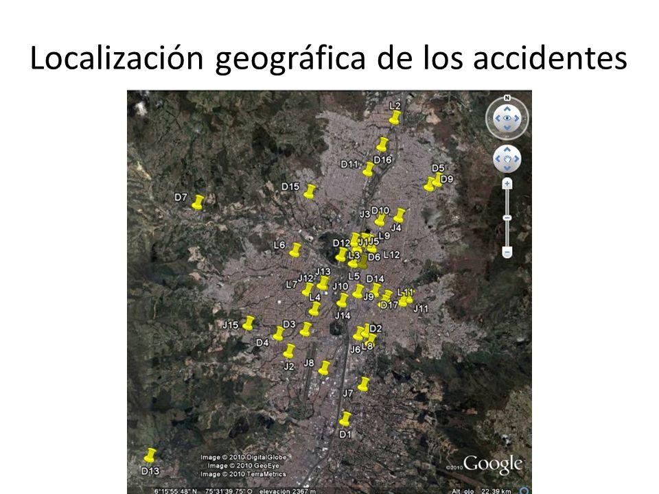 Localización geográfica de los accidentes