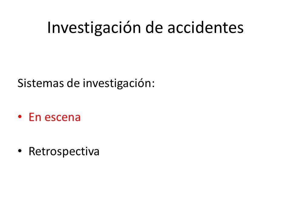 Investigación de accidentes Sistemas de investigación: En escena Retrospectiva