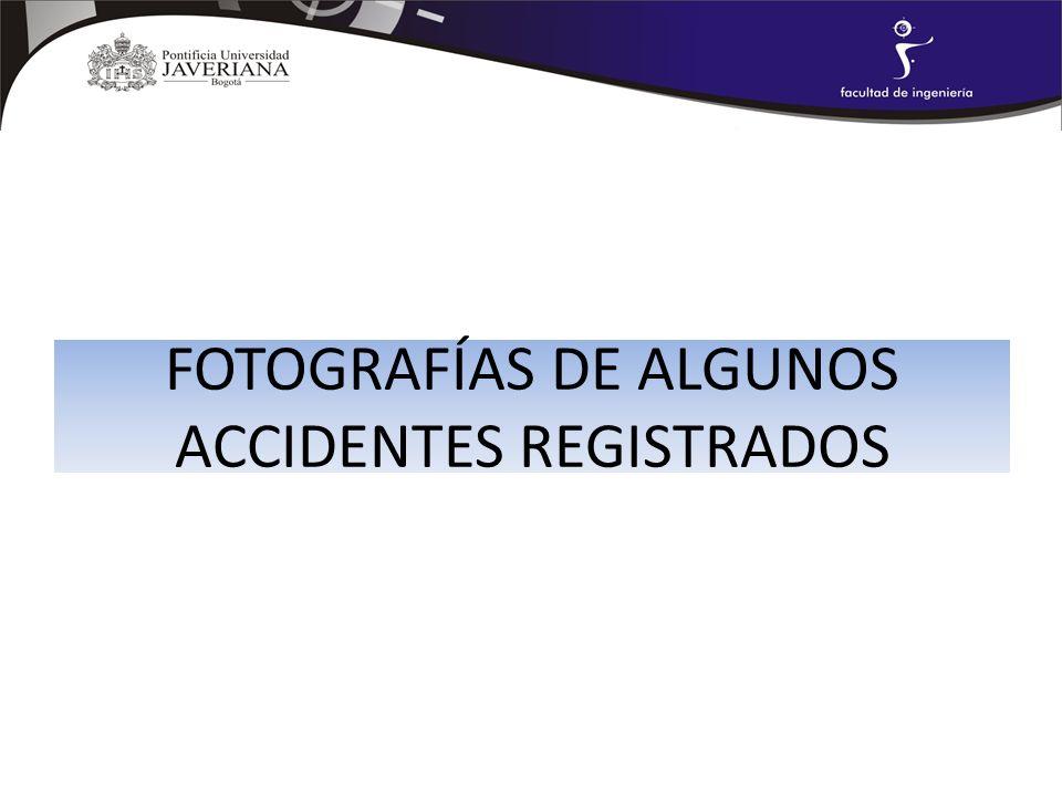 FOTOGRAFÍAS DE ALGUNOS ACCIDENTES REGISTRADOS