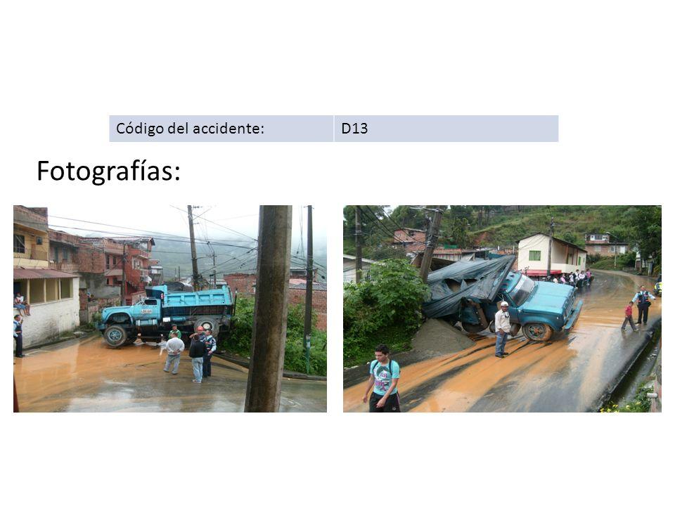 Código del accidente:D13 Fotografías: