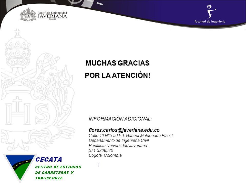 INFORMACIÓN ADICIONAL: florez.carlos@javeriana.edu.co Calle 40 N°5-50 Ed. Gabriel Maldonado Piso 1. Departamento de Ingeniería Civil Pontificia Univer