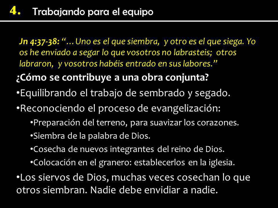 4. Jn 4:37-38: …Uno es el que siembra, y otro es el que siega. Yo os he enviado a segar lo que vosotros no labrasteis; otros labraron, y vosotros habé