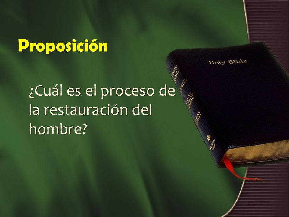 Proposición ¿Cuál es el proceso de la restauración del hombre?