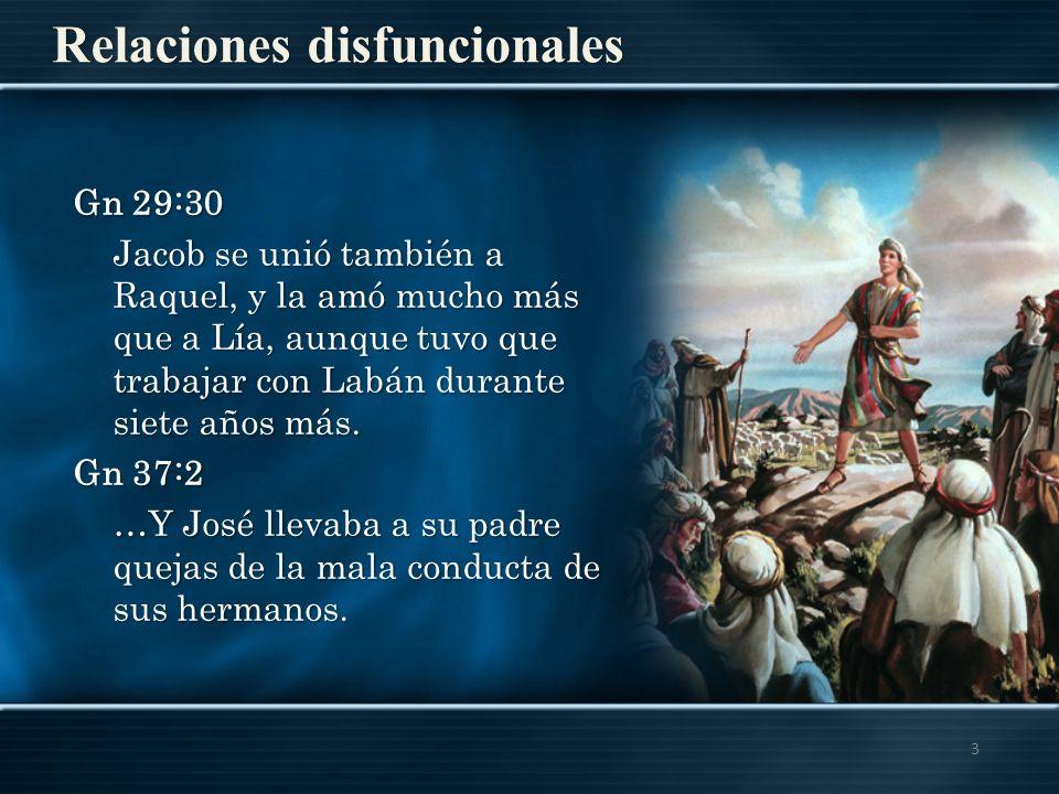 Relaciones disfuncionales 3 Gn 29:30 Jacob se unió también a Raquel, y la amó mucho más que a Lía, aunque tuvo que trabajar con Labán durante siete añ