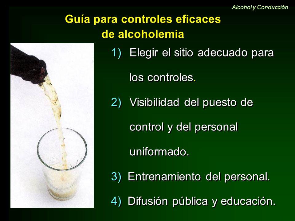Guía para controles eficaces de alcoholemia 1)Elegir el sitio adecuado para los controles. 2)Visibilidad del puesto de control y del personal uniforma