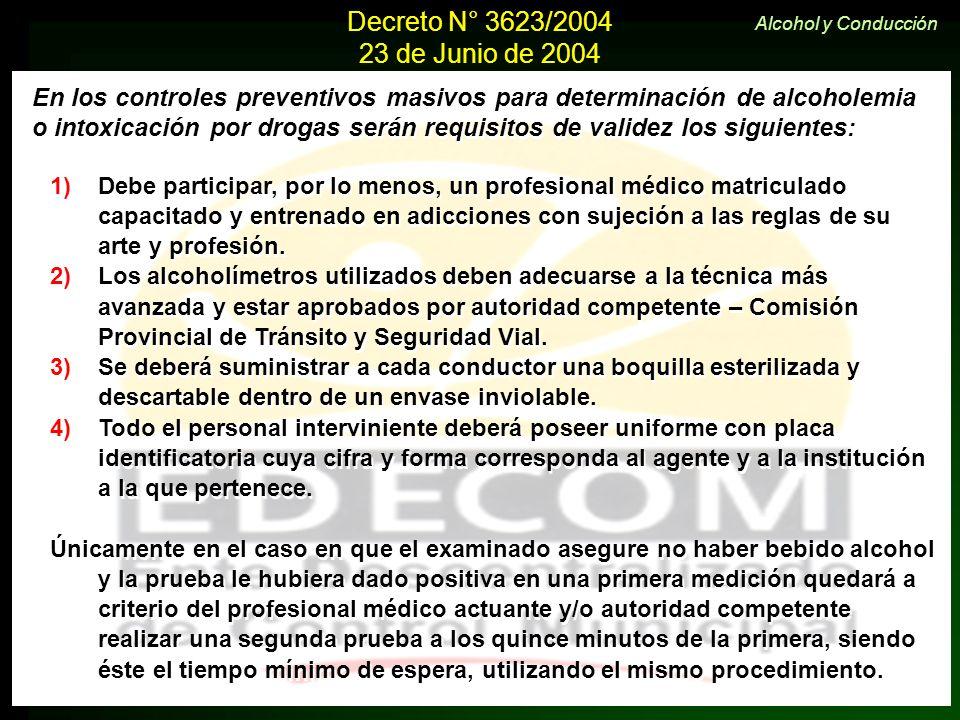Decreto N° 3623/2004 23 de Junio de 2004 En los controles preventivos masivos para determinación de alcoholemia o intoxicación por drogas serán requis