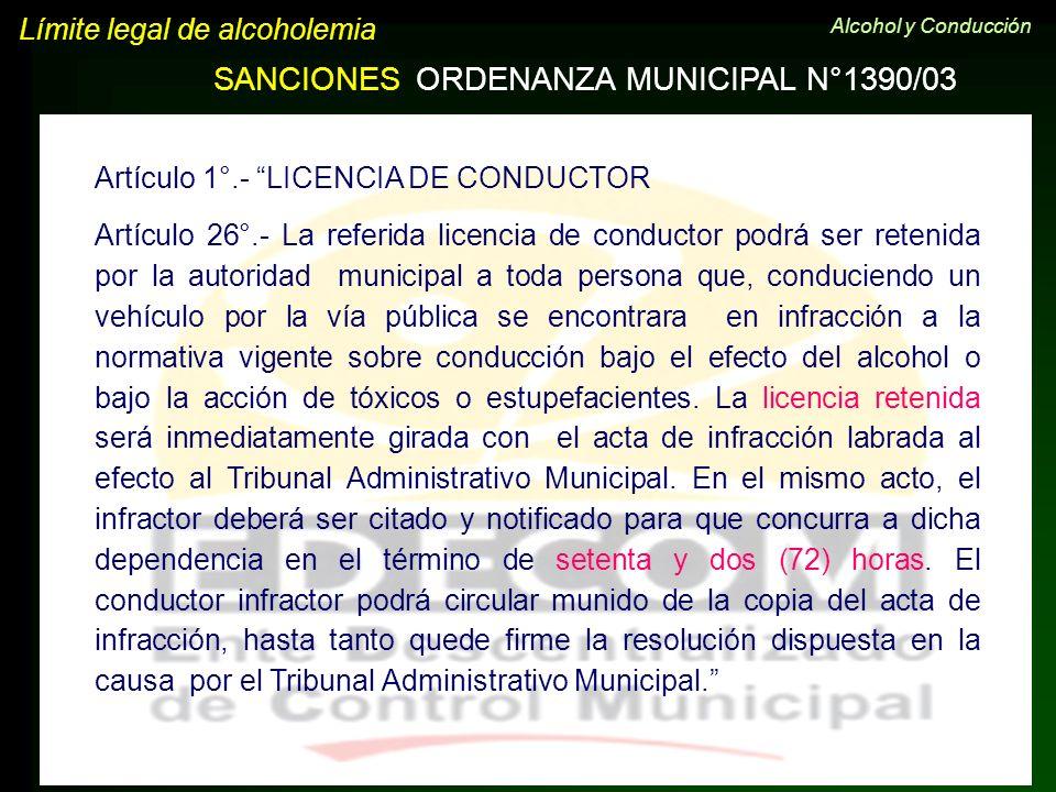 Límite legal de alcoholemia SANCIONESORDENANZA MUNICIPAL N°1390/03 Artículo 1°.- LICENCIA DE CONDUCTOR Artículo 26°.- La referida licencia de conducto