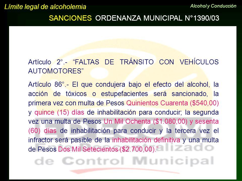 Artículo 2°.- FALTAS DE TRÁNSITO CON VEHÍCULOS AUTOMOTORES Artículo 86°.- El que condujera bajo el efecto del alcohol, la acción de tóxicos o estupefa
