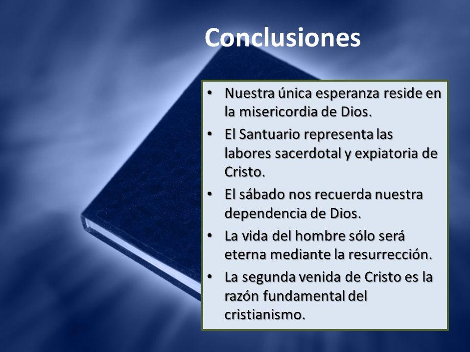 Conclusiones Nuestra única esperanza reside en la misericordia de Dios. Nuestra única esperanza reside en la misericordia de Dios. El Santuario repres