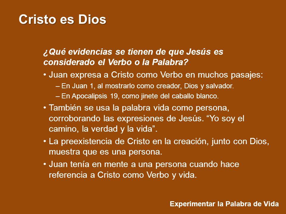 Experimentar la Palabra de Vida Cristo es Dios ¿Qué evidencias se tienen de que Jesús es considerado el Verbo o la Palabra.