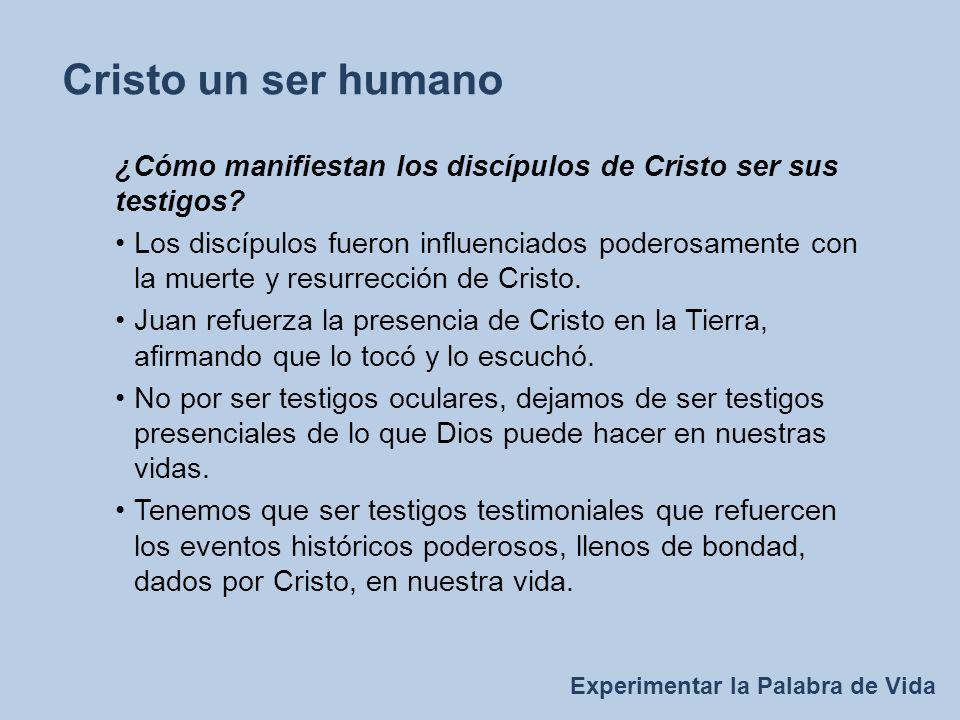 Experimentar la Palabra de Vida Cristo un ser humano ¿Cómo manifiestan los discípulos de Cristo ser sus testigos.