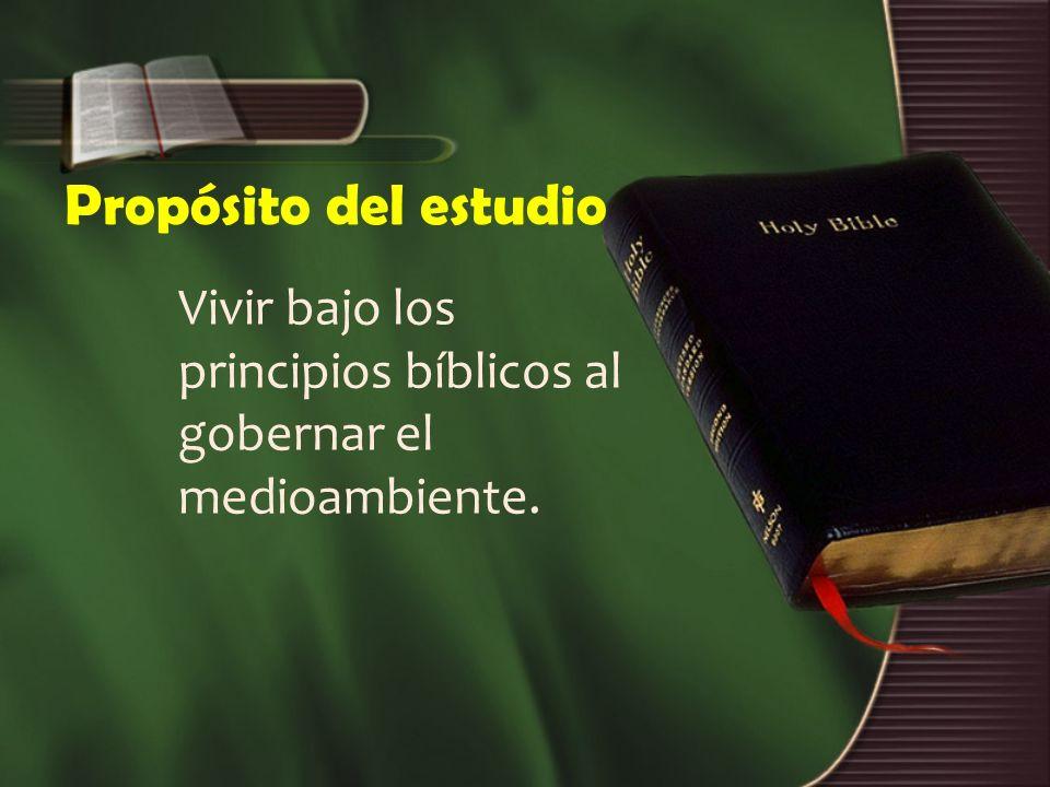 Propósito del estudio Vivir bajo los principios bíblicos al gobernar el medioambiente.