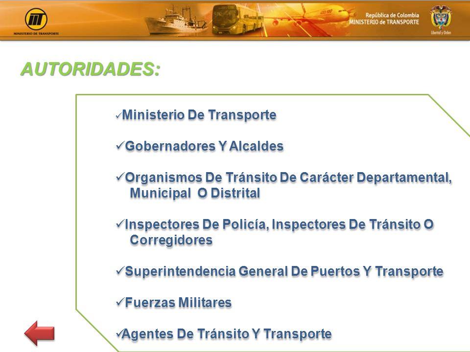 Ministerio De Transporte Gobernadores Y Alcaldes Organismos De Tránsito De Carácter Departamental, Municipal O Distrital Inspectores De Policía, Inspe