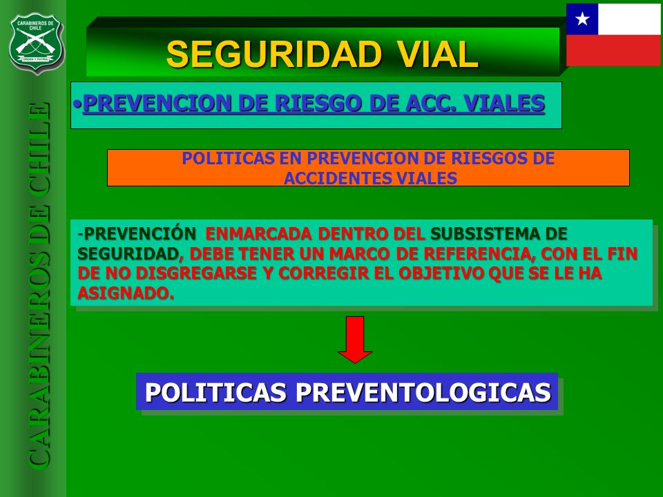 CARABINEROS DE CHILE PREVENCION DE RIESGO DE ACC. VIALESPREVENCION DE RIESGO DE ACC. VIALES SEGURIDAD VIAL -PREVENCIÓN ENMARCADA DENTRO DEL SUBSISTEMA