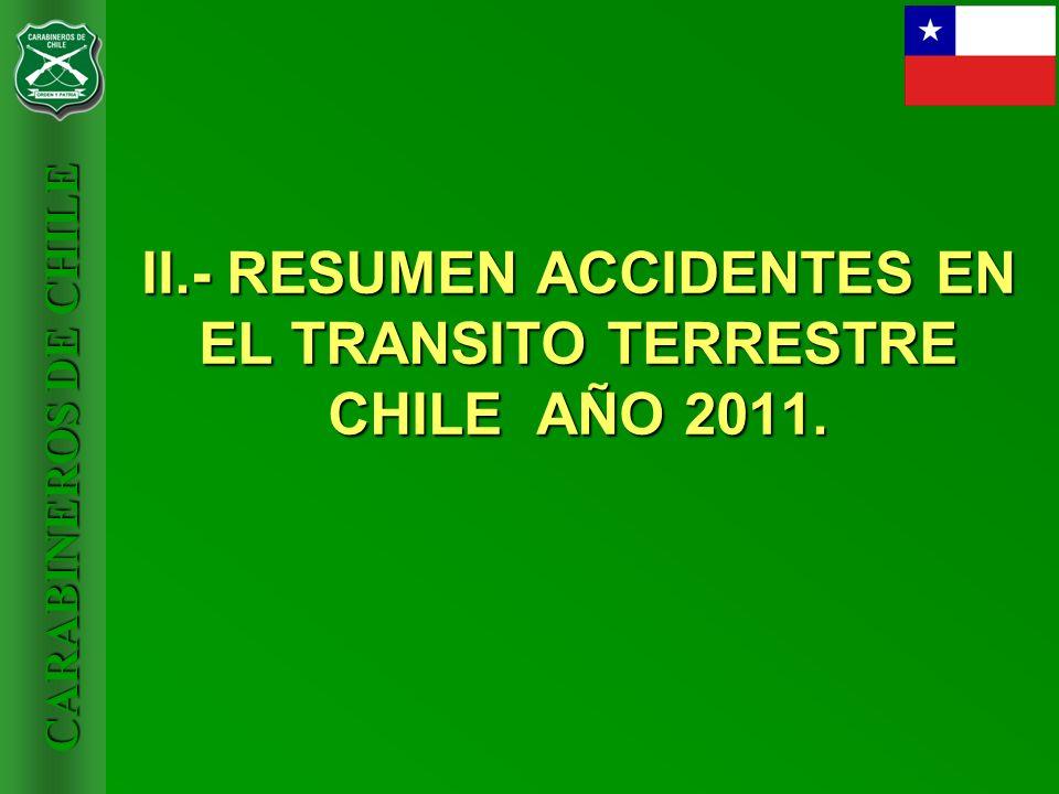 CARABINEROS DE CHILE II.- RESUMEN ACCIDENTES EN EL TRANSITO TERRESTRE CHILE AÑO 2011.