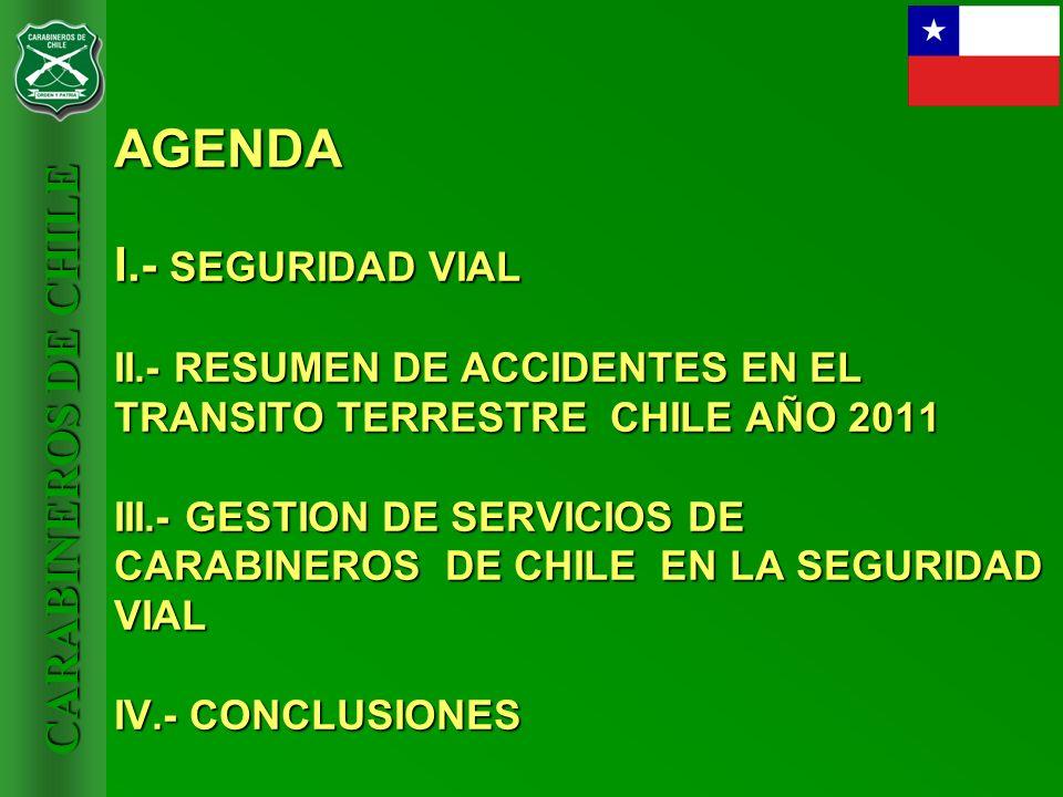 CARABINEROS DE CHILE AGENDA I.- SEGURIDAD VIAL II.- RESUMEN DE ACCIDENTES EN EL TRANSITO TERRESTRE CHILE AÑO 2011 III.- GESTION DE SERVICIOS DE CARABI