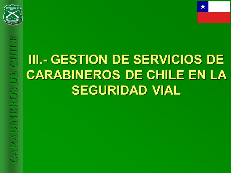 III.- GESTION DE SERVICIOS DE CARABINEROS DE CHILE EN LA SEGURIDAD VIAL