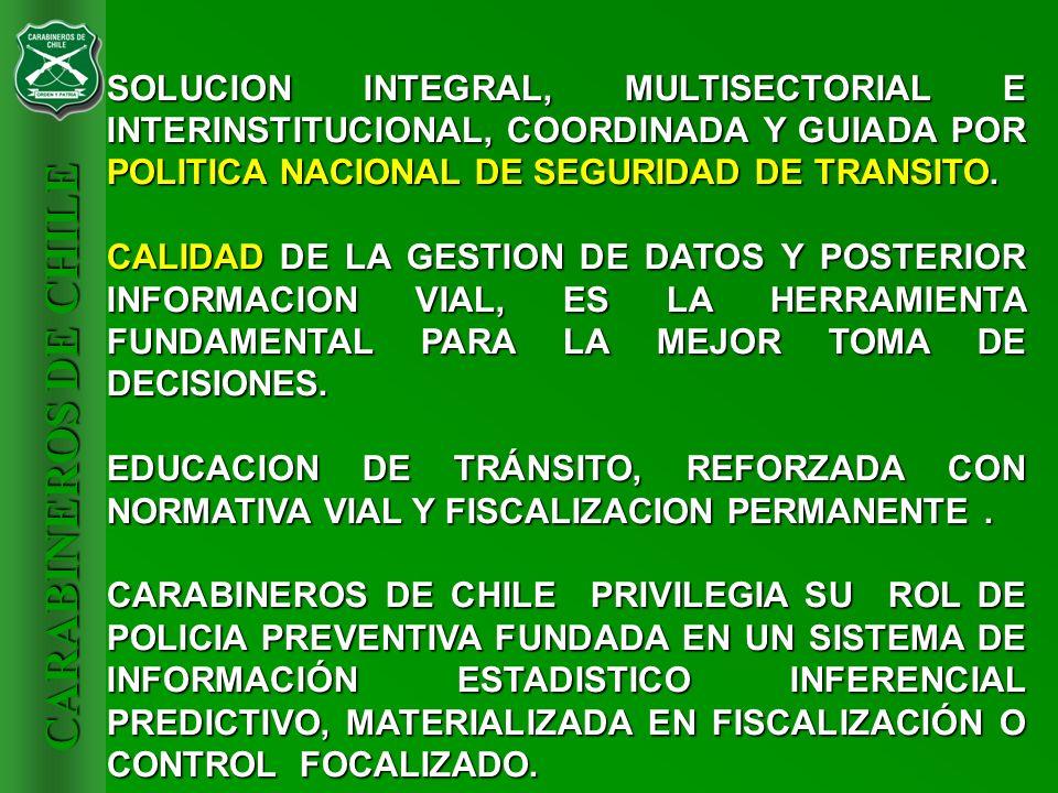 CARABINEROS DE CHILE SOLUCION INTEGRAL, MULTISECTORIAL E INTERINSTITUCIONAL, COORDINADA Y GUIADA POR POLITICA NACIONAL DE SEGURIDAD DE TRANSITO. CALID