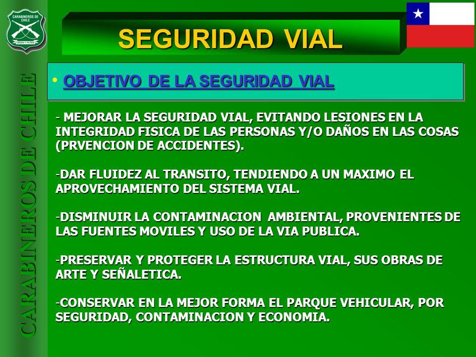 CARABINEROS DE CHILE OBJETIVO DE LA SEGURIDAD VIAL SEGURIDAD VIAL - DISMINUIR EL COSTO OPERACIONAL DE LOS VEHICULOS Y LA INVERSION DE LAS VIAS.