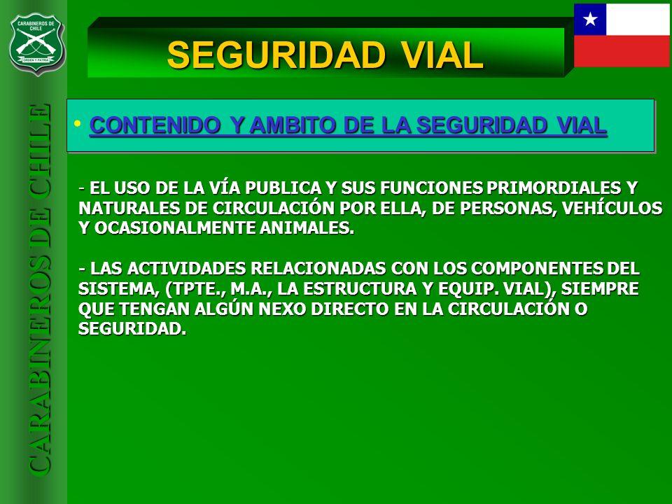 CARABINEROS DE CHILE CONTENIDO Y AMBITO DE LA SEGURIDAD VIAL SEGURIDAD VIAL - EL USO DE LA VÍA PUBLICA Y SUS FUNCIONES PRIMORDIALES Y NATURALES DE CIR