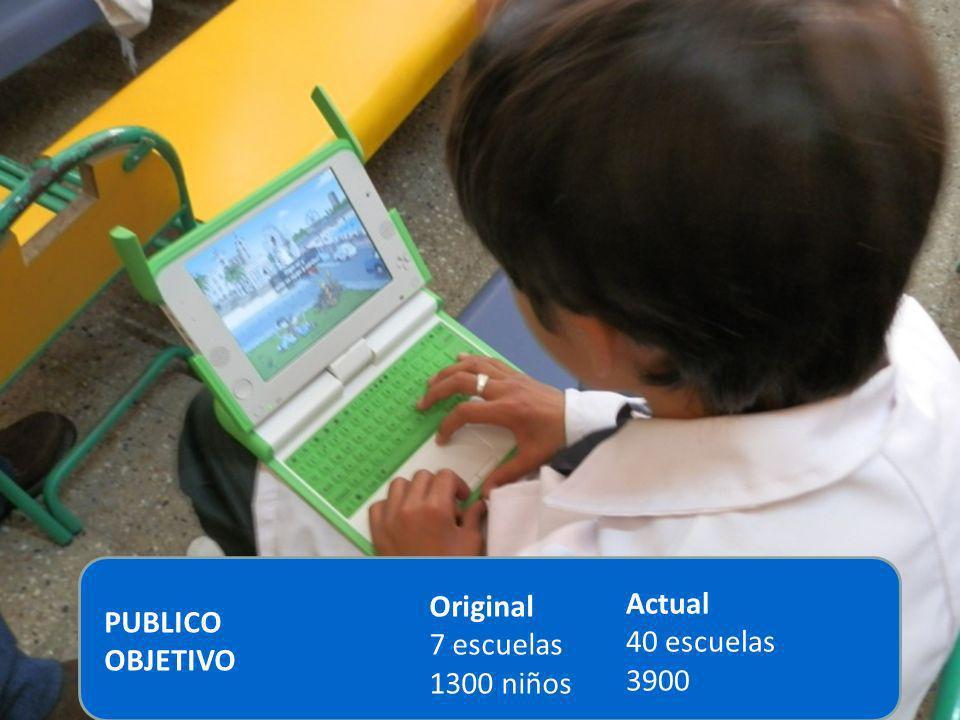 Original 7 escuelas 1300 niños Actual 40 escuelas 3900 PUBLICO OBJETIVO