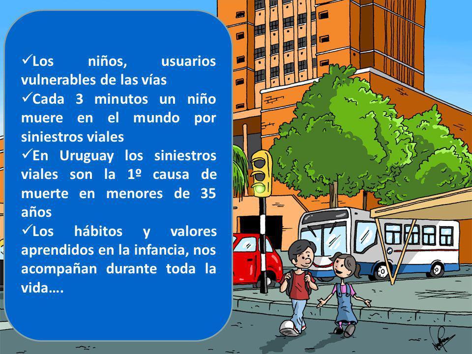 Los niños, usuarios vulnerables de las vías Cada 3 minutos un niño muere en el mundo por siniestros viales En Uruguay los siniestros viales son la 1º