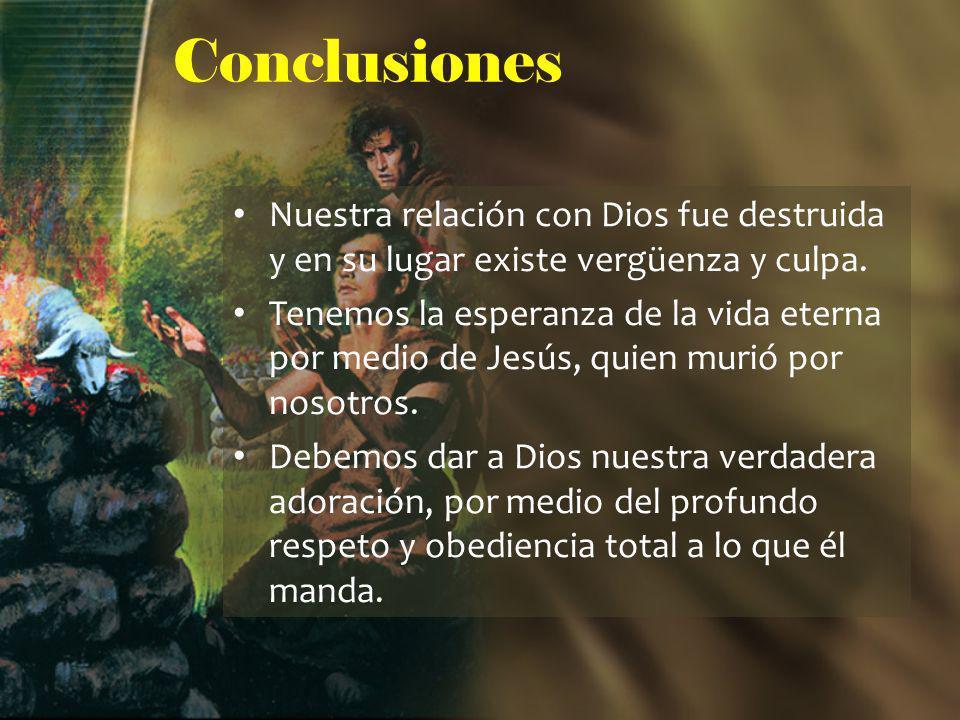 Conclusiones Nuestra relación con Dios fue destruida y en su lugar existe vergüenza y culpa. Tenemos la esperanza de la vida eterna por medio de Jesús