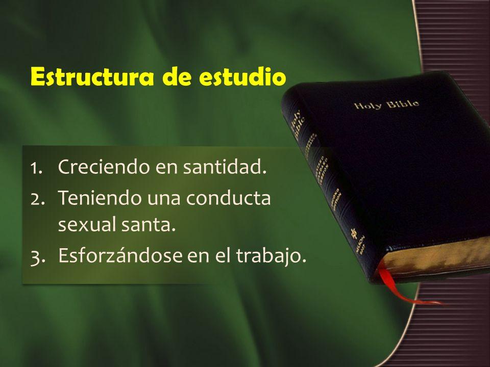 Estructura de estudio 1.Creciendo en santidad. 2.Teniendo una conducta sexual santa. 3.Esforzándose en el trabajo.