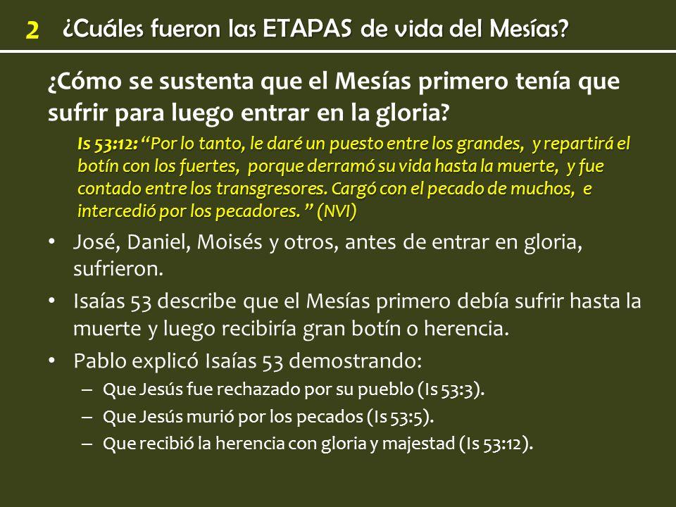¿Cuáles fueron las ETAPAS de vida del Mesías? 2 ¿Cómo se sustenta que el Mesías primero tenía que sufrir para luego entrar en la gloria? Is 53:12: Por